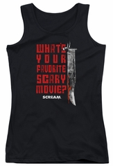 Scream  Juniors Tank Top What's Your Favorite Scary Movie Black Tanktop