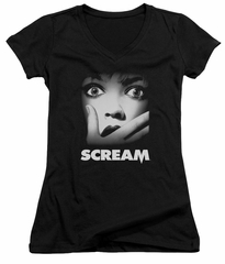 Scream  Juniors V Neck Shirt Movie Poster Black T-Shirt