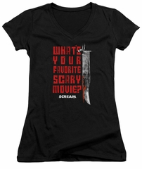 Scream  Juniors V Neck Shirt What's Your Favorite Scary Movie Black T-Shirt