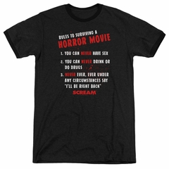 Scream  Rules To Surviving A Horror Movie Black Ringer Shirt