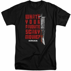 Scream Shirt What's Your Favorite Scary Movie Tall Black T-Shirt