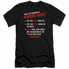 Scream  Slim Fit Shirt Rules To Surviving A Horror Movie Black T-Shirt