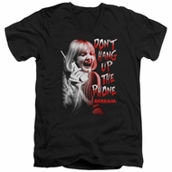 Scream  Slim Fit V-Neck Shirt Don't Hang Up The Phone Black T-Shirt