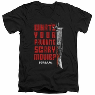 Scream  Slim Fit V-Neck Shirt What's Your Favorite Scary Movie Black T-Shirt