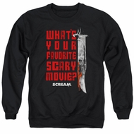 Scream  Sweatshirt What's Your Favorite Scary Movie Adult Black Sweat Shirt