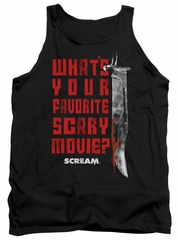 Scream  Tank Top What's Your Favorite Scary Movie Black Tanktop