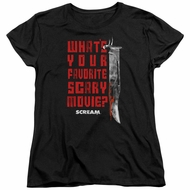 Scream  Womens Shirt What's Your Favorite Scary Movie Black T-Shirt