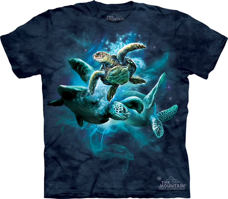 Sea turtle shirt tie dye ocean collage t shirt adult tee for Turtle shirts for men