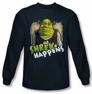 Shrek Shirt Happens Long Sleeve Navy Blue Tee T-Shirt