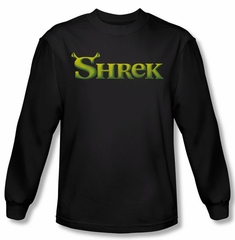 Shrek Shirt Logo Long Sleeve Black Tee T-Shirt
