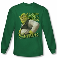 Shrek Shirt Looking Good Long Sleeve Kelly Green Tee T-Shirt
