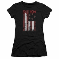 Skid Row Juniors Shirt Flagged Black T-Shirt