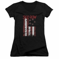Skid Row Juniors V Neck Shirt Flagged Black T-Shirt