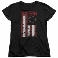Skid Row Womens Shirt Flagged Black T-Shirt