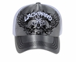 Skull Design 3D Hat - Mesh Back Lackpard Cap - Charcoal Gray/White