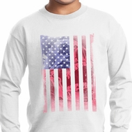 Skull in American Flag Kids Long Sleeve Shirt