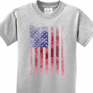 Skull in American Flag Kids Shirt