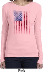 Skull in American Flag Ladies Long Sleeve Shirt