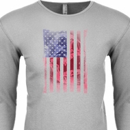 Skull in American Flag Long Sleeve Thermal Shirt