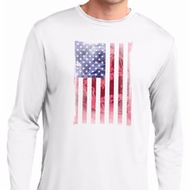 Skull in American Flag Mens Moisture Wicking Long Sleeve Shirt