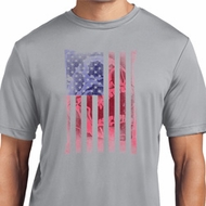 Skull in American Flag Mens Moisture Wicking Shirt