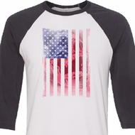 Skull in American Flag Mens Raglan Shirt