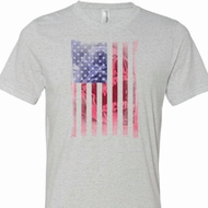 Skull in American Flag Mens Tri Blend Crewneck Shirt