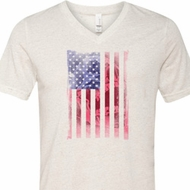 Skull in American Flag Mens Tri Blend V-neck Shirt