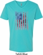 Skull in American Flag Mens V-Neck Shirt