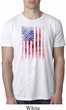 Skull in American Flag Mens White Burnout Shirt