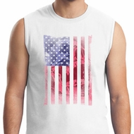 Skull in American Flag Mens White Muscle Shirt