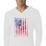 Skull in American Flag White Lightweight Hoodie Shirt