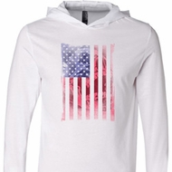 Skull in American Flag White Lightweight Hoodie Tee