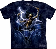 Skull Shirt Tie Dye Moon Death Drummer T-shirt Adult Tee