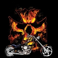 Skull T-shirt - Bike Flames Tee Shirt