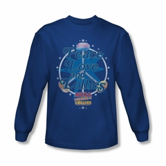 Smarties Shirt Peace Long Sleeve Royal Blue Tee T-Shirt