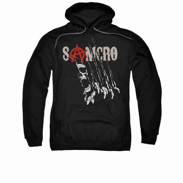 Sons of anarchy hoodie sweatshirt rip through black adult for How to not sweat through a shirt