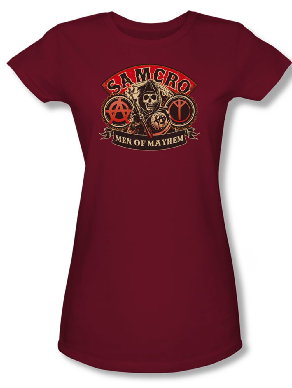 sons of anarchy juniors shirt men of mayhem cardinal tee t. Black Bedroom Furniture Sets. Home Design Ideas