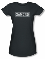 Sons Of Anarchy SOA Juniors Shirt Samcro Charcoal Tee T-Shirt