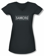 Sons Of Anarchy SOA Juniors V Neck Shirt Samcro Charcoal Tee T-Shirt