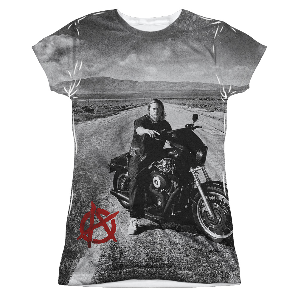 sons of anarchy open road sublimation juniors shirt sons. Black Bedroom Furniture Sets. Home Design Ideas