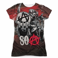 Sons Of Anarchy SOA Reaper Ball Sublimation Juniors Shirt