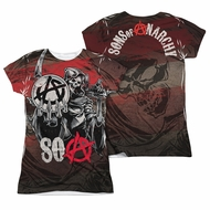 Sons Of Anarchy SOA Reaper Ball Sublimation Juniors Shirt Front/Back Print