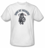 Sons Of Anarchy SOA Shirt Bloody Sickle Adult White Tee T-Shirt