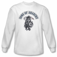 Sons Of Anarchy SOA Shirt Bloody Sickle Long Sleeve White Tee T-Shirt