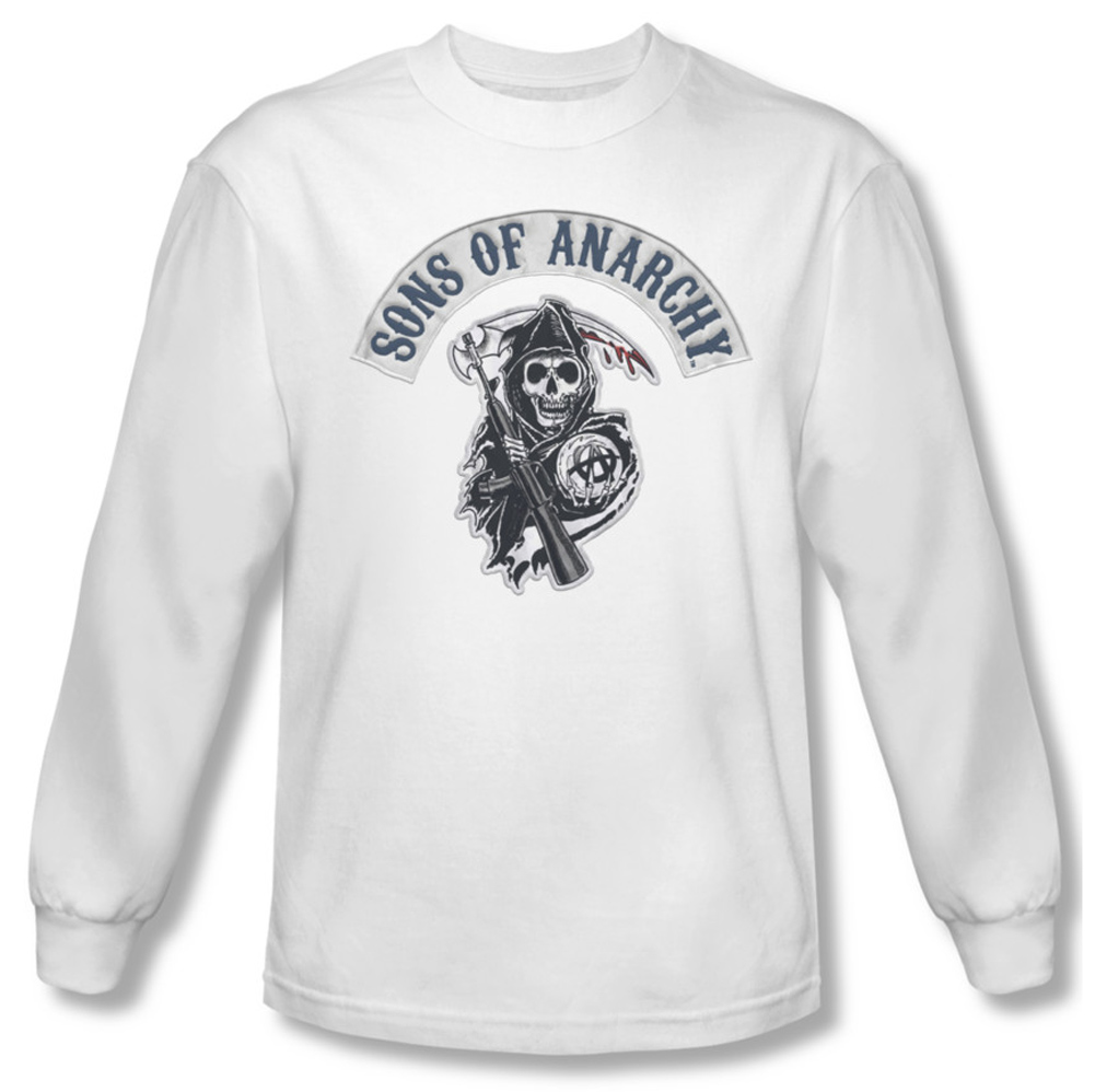 sons of anarchy shirt bloody sickle long sleeve white tee. Black Bedroom Furniture Sets. Home Design Ideas