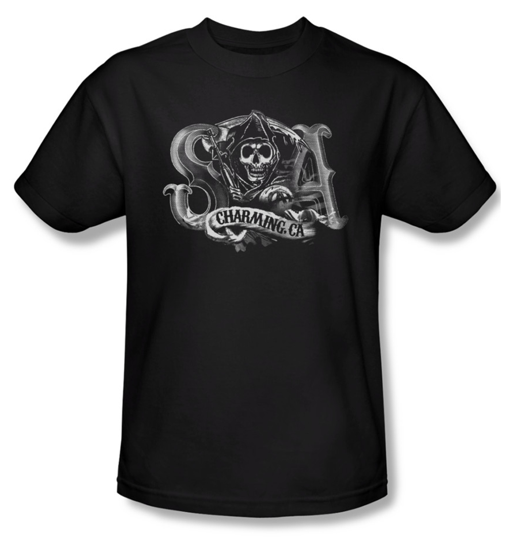 sons of anarchy shirt charming ca adult black tee t shirt. Black Bedroom Furniture Sets. Home Design Ideas