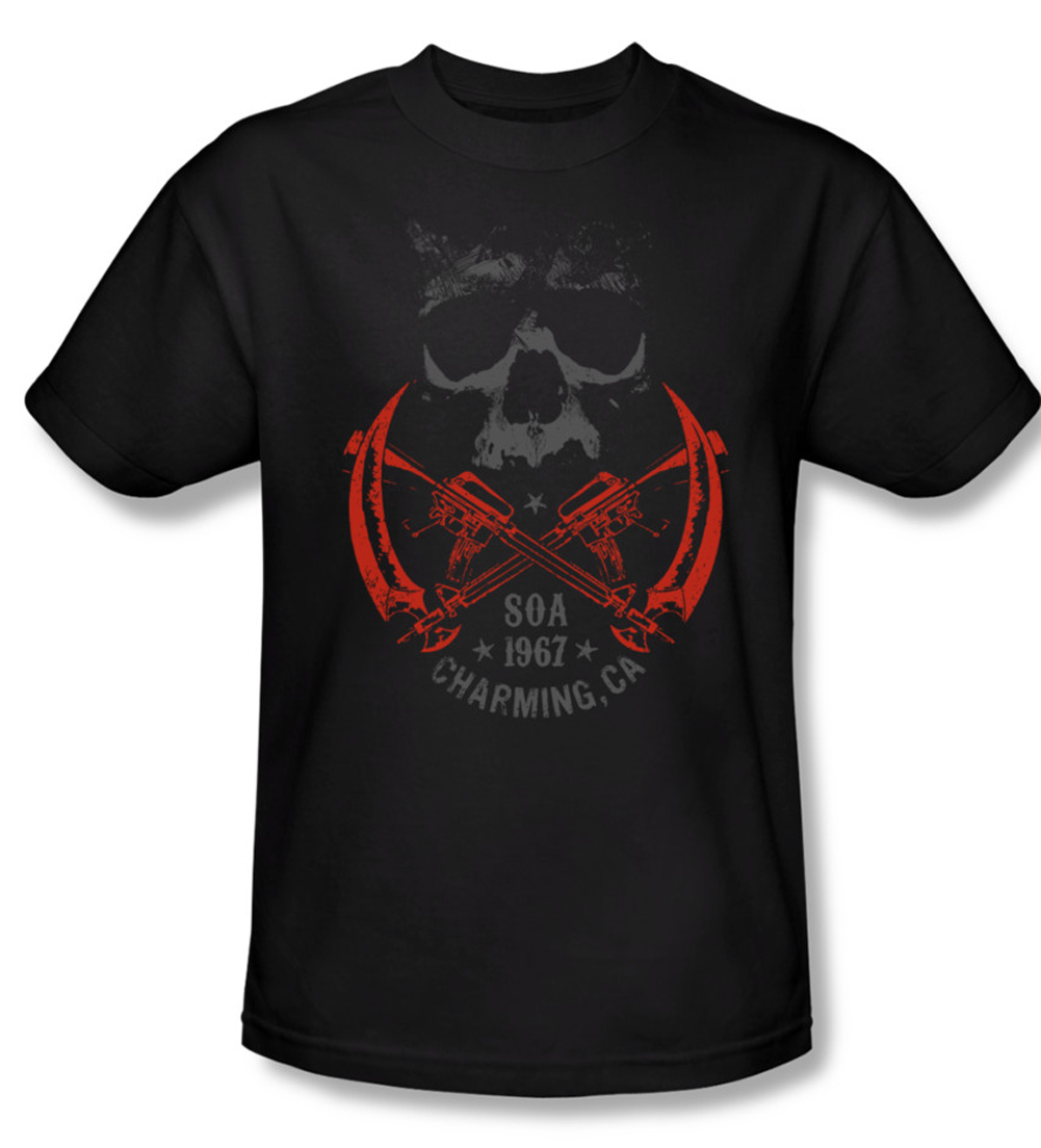 sons of anarchy shirt cross guns adult black tee t shirt. Black Bedroom Furniture Sets. Home Design Ideas