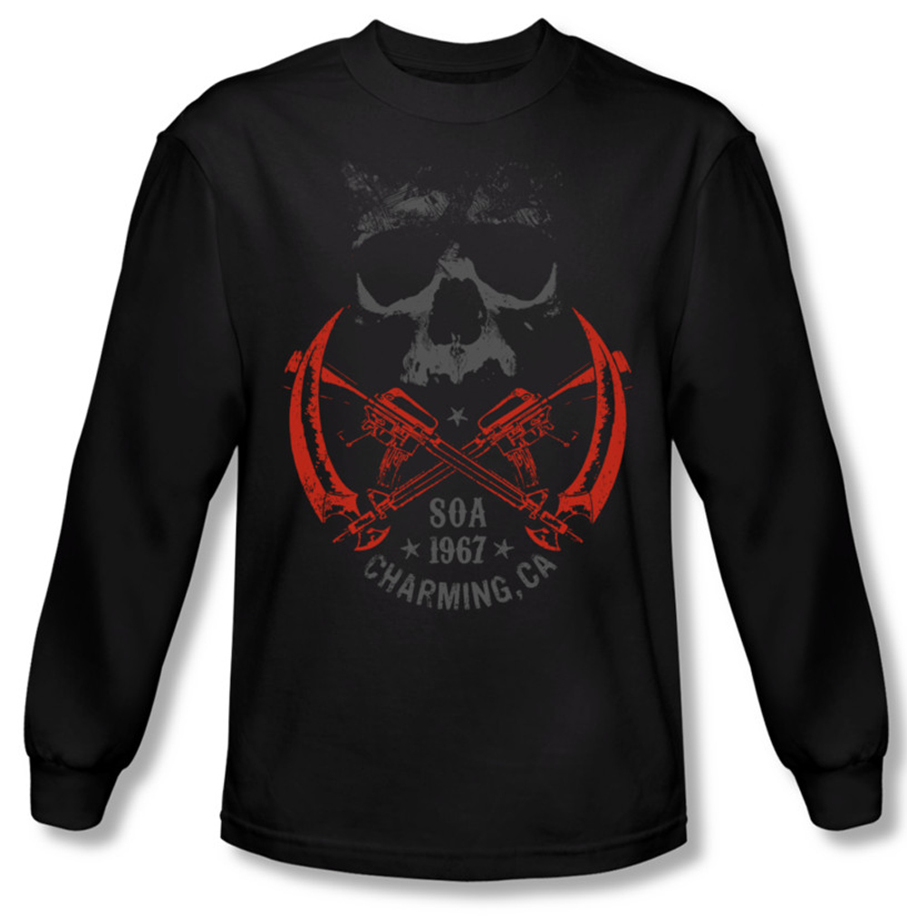 sons of anarchy shirt cross guns long sleeve black tee t. Black Bedroom Furniture Sets. Home Design Ideas