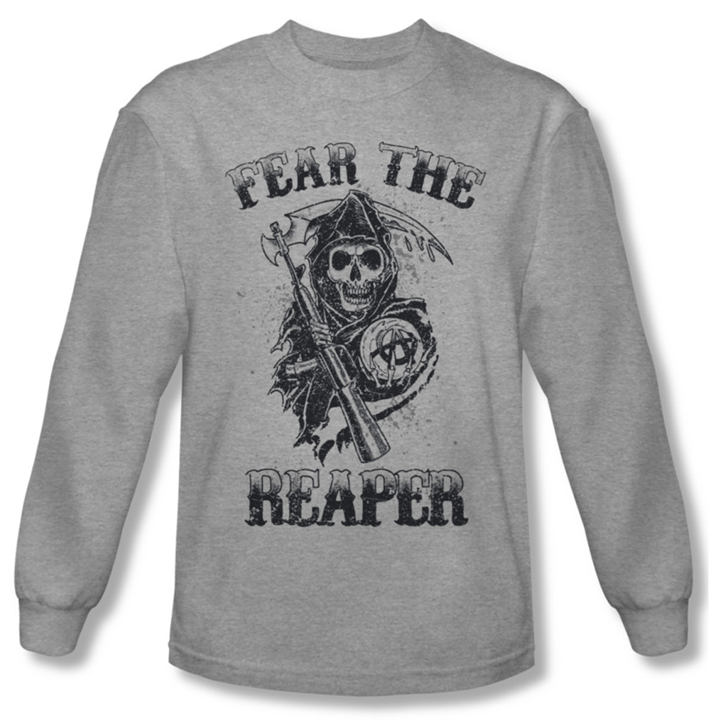 sons of anarchy shirt fear the reaper long sleeve grey tee. Black Bedroom Furniture Sets. Home Design Ideas